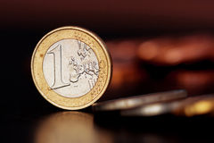 One euro coin. In macro photography stock images