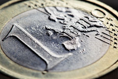 One euro coin. Super close-up. Shallow DOF Royalty Free Stock Images