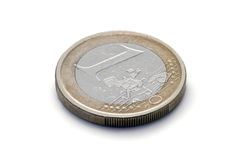 One Euro Coin. Well used, worn, one 1 Euro coin, isolated against white with clipping path Royalty Free Stock Photos