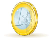 One euro coin. 3d view Royalty Free Stock Images