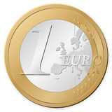One euro coin. Isolated on a white background. Vector illustration Royalty Free Stock Photography