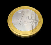 One euro coin. Three dimensional one euro coin Royalty Free Stock Images