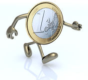 One euro coin with arms and legs that run Stock Images