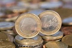 One Euro coin from Belgium stock photos