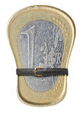 One Euro coin with a belt. Stock Photos