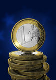 One euro coin in blue vector illustration