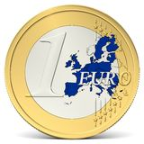 One euro coin blue europe Royalty Free Stock Photos