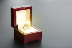 One euro coin in the box Stock Images
