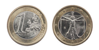 One Euro coin with clipping path Royalty Free Stock Photos