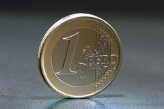 One euro coin closeup Royalty Free Stock Photo