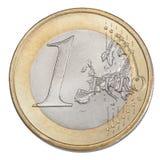 One euro coin. Closeup on white background