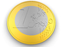 One Euro Coin. 3D rendered illustration of the one euro coin. The coin is isolated on a white background with no shadows Royalty Free Stock Images
