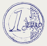 One euro coin. Doodle style. Vector EPS 8 Stock Images