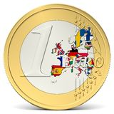 One euro coin europe with flags Royalty Free Stock Photo