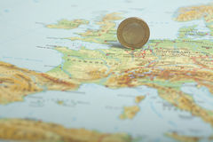 One euro coin on a European map (Belgium) Stock Photo