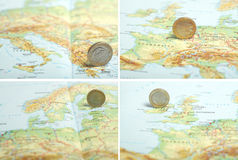One euro coin on a European map (IRL/L/FIN/GR) Royalty Free Stock Photo