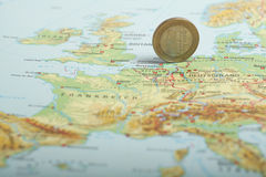 One euro coin on a European map (Netherlands) Royalty Free Stock Photos