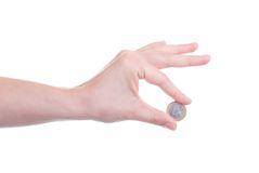 One Euro coin in female hand Stock Photo