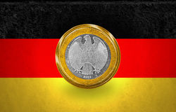 One Euro Coin flag in a coin Stock Images