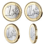 One Euro Coin. Four one Euro coins photographed at different angles with similar lighting Royalty Free Stock Photography