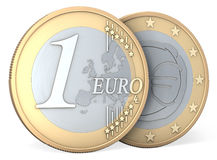 One Euro coin, front and back Stock Photos