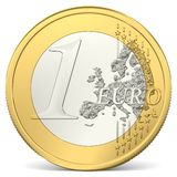 One euro coin. In front view Royalty Free Stock Photo