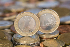 One Euro coin from Germany. A one Euro coin from the EU member country Germany stock photo