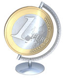 One euro coin globe. Globe in stand, rack made of a one euro coin, 3d rendering on white background Stock Images