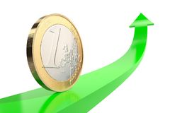 One euro coin on green arrow upward with reflecting surface on white background. Quotes go down. 3d illustration: copper-nickel one euro coin on green arrow Stock Image