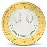 One euro coin happy smiley Royalty Free Stock Image