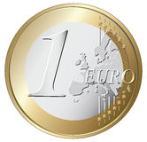 One euro coin  illustration. Isolated on white background Royalty Free Stock Images