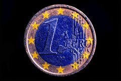 One euro coin isolated. Close up stock images