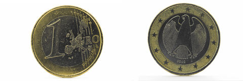 One Euro coin. Isolated over white - front and rear side vintage Royalty Free Stock Photo