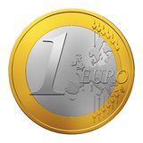 One Euro coin isolated on white. Background Royalty Free Stock Image