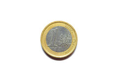 One euro coin macro isolated on white Stock Images