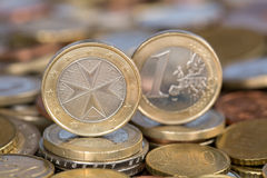 One Euro coin from Malta. A one Euro coin from the EU member country Malta Royalty Free Stock Photos