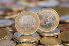 One Euro coin from Netherlands Queen Beatrix. A one Euro coin from the EU member country Netherlands with Queen Beatrix Stock Photography