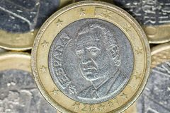 One Euro Coin, part of back royalty free stock photos