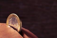 One euro coin in a piggy bank Royalty Free Stock Photos
