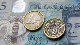 One Euro Coin and One Pound Coin on a British Five Pound Note in a Horizontal Format. London, UK: April 20, 2017: The new bi-metallic one pound coin released in Stock Photo