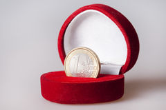 One euro coin in present box Stock Photography