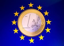 EU Coin. A one euro coin sitting in the middle of EU yellow stars royalty free stock photo