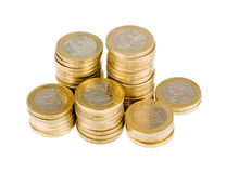 One euro coin stack. Isolated on white background Stock Photos