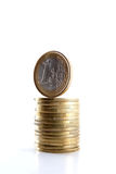 One Euro coin on the top of coins. Stock Photo