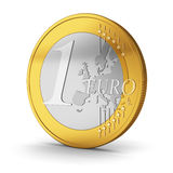 One Euro coin  on white. One Euro coin isolated on white background Royalty Free Stock Photography