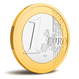 One Euro coin. On white background Royalty Free Stock Photos