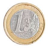 One euro coin on white. Coin with scratches and scuffs Royalty Free Stock Photography