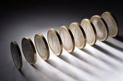 One euro coins. A row of one euro coins Stock Photos