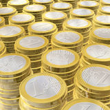 One euro coins. Three dimensional euro coins - illustration Stock Image