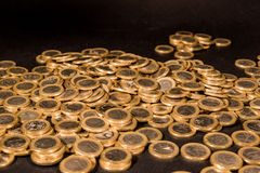 One euro coins. Black backround Royalty Free Stock Image